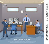 security room with officers... | Shutterstock . vector #1042844116