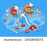 water park and swimming with... | Shutterstock . vector #1042845073