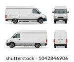 Realistic White Cargo Van With...