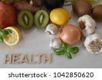 fruits  vegetables and mug of...
