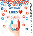 get more likes. hand hold... | Shutterstock .eps vector #1042857943