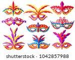 set of carnival face masks....   Shutterstock .eps vector #1042857988