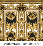 golden baroque ornament | Shutterstock . vector #1042858273