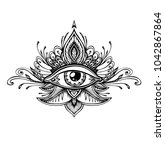 abstract symbol of all seeing...   Shutterstock .eps vector #1042867864