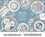 breakfasts top view frame.... | Shutterstock .eps vector #1042869064
