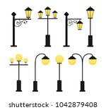 a set of vintage street lamps... | Shutterstock .eps vector #1042879408