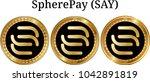 set of physical golden coin... | Shutterstock .eps vector #1042891819