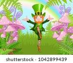 lucky dancing leprechaun | Shutterstock .eps vector #1042899439
