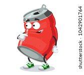 cartoon can of cola mascot... | Shutterstock .eps vector #1042901764