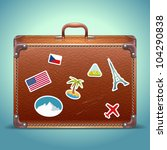 vector leather suitcase with... | Shutterstock .eps vector #104290838