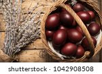 easter background with easter... | Shutterstock . vector #1042908508