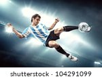 a soccer player with the ball... | Shutterstock . vector #104291099