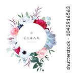 Stock vector round floral label frame arranged from leaves and flowers pink rose white anemone black berry 1042916563