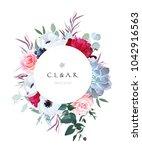 round floral label frame... | Shutterstock .eps vector #1042916563