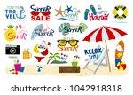 summer beach travel tropical... | Shutterstock .eps vector #1042918318