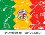 flag of los anglese city in the ... | Shutterstock . vector #104292380