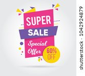 super sale  sale banners  tags  ... | Shutterstock .eps vector #1042924879