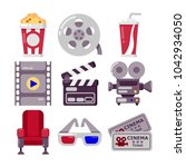 set of cinema icons in flat... | Shutterstock .eps vector #1042934050