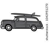 woodie surf wagon illustration  ... | Shutterstock .eps vector #1042951270
