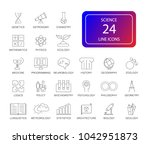 line icon set. science pack.... | Shutterstock .eps vector #1042951873