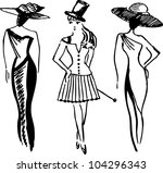 hand drawn fashion model.... | Shutterstock .eps vector #104296343