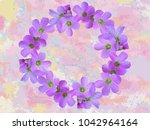 floral wreath round frame on... | Shutterstock . vector #1042964164