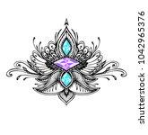 abstract zen tangle  symbol in... | Shutterstock .eps vector #1042965376