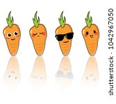 cute carrot cartoon characters... | Shutterstock .eps vector #1042967050