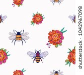 embroidery honey bees and...   Shutterstock .eps vector #1042967098