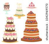 wedding cakes fresh tasty... | Shutterstock .eps vector #1042969570