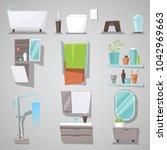 bathroom interior vector... | Shutterstock .eps vector #1042969663