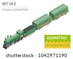 3d isometric retro railway with ... | Shutterstock .eps vector #1042971190