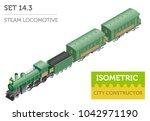 3d isometric retro railway with ... | Shutterstock .eps vector #1042971190