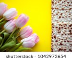 matzah for passover and pink... | Shutterstock . vector #1042972654