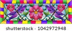 illustration in stained glass... | Shutterstock .eps vector #1042972948