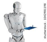 3d rendering humanoid robot... | Shutterstock . vector #1042981198