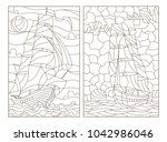 set contour illustrations of...   Shutterstock .eps vector #1042986046