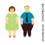 overweight people. man and woman | Shutterstock .eps vector #1042986748