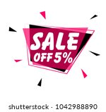 sale off 5  sign with pink label | Shutterstock .eps vector #1042988890