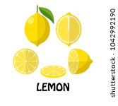 vector illustration flat lemon... | Shutterstock .eps vector #1042992190