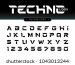 vector of futuristic alphabet... | Shutterstock .eps vector #1043013244