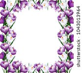 frame with purple flowers of... | Shutterstock .eps vector #1043013964