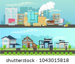 city and suburbs. banner for... | Shutterstock .eps vector #1043015818