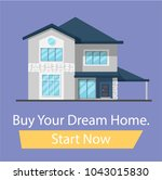buy the house of your dreams ... | Shutterstock .eps vector #1043015830