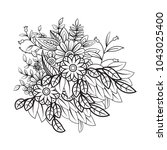 floral pattern in black and... | Shutterstock .eps vector #1043025400