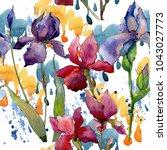 wildflower iris flower pattern... | Shutterstock . vector #1043027773