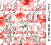 wildflower rose flower pattern... | Shutterstock . vector #1043027986