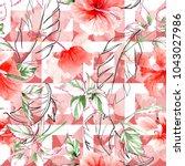 wildflower rose flower pattern... | Shutterstock . vector #1043027986