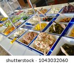 a salad bar with a variety of... | Shutterstock . vector #1043032060