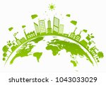 ecology concept with green city ... | Shutterstock .eps vector #1043033029
